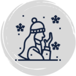 Cartoon woman out in the snow with a hat and jacket and coughing into her hand like she has a cold