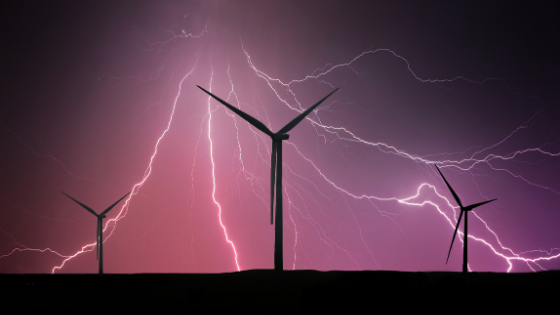 wind turbines and lightning strikes during a thunderstorm