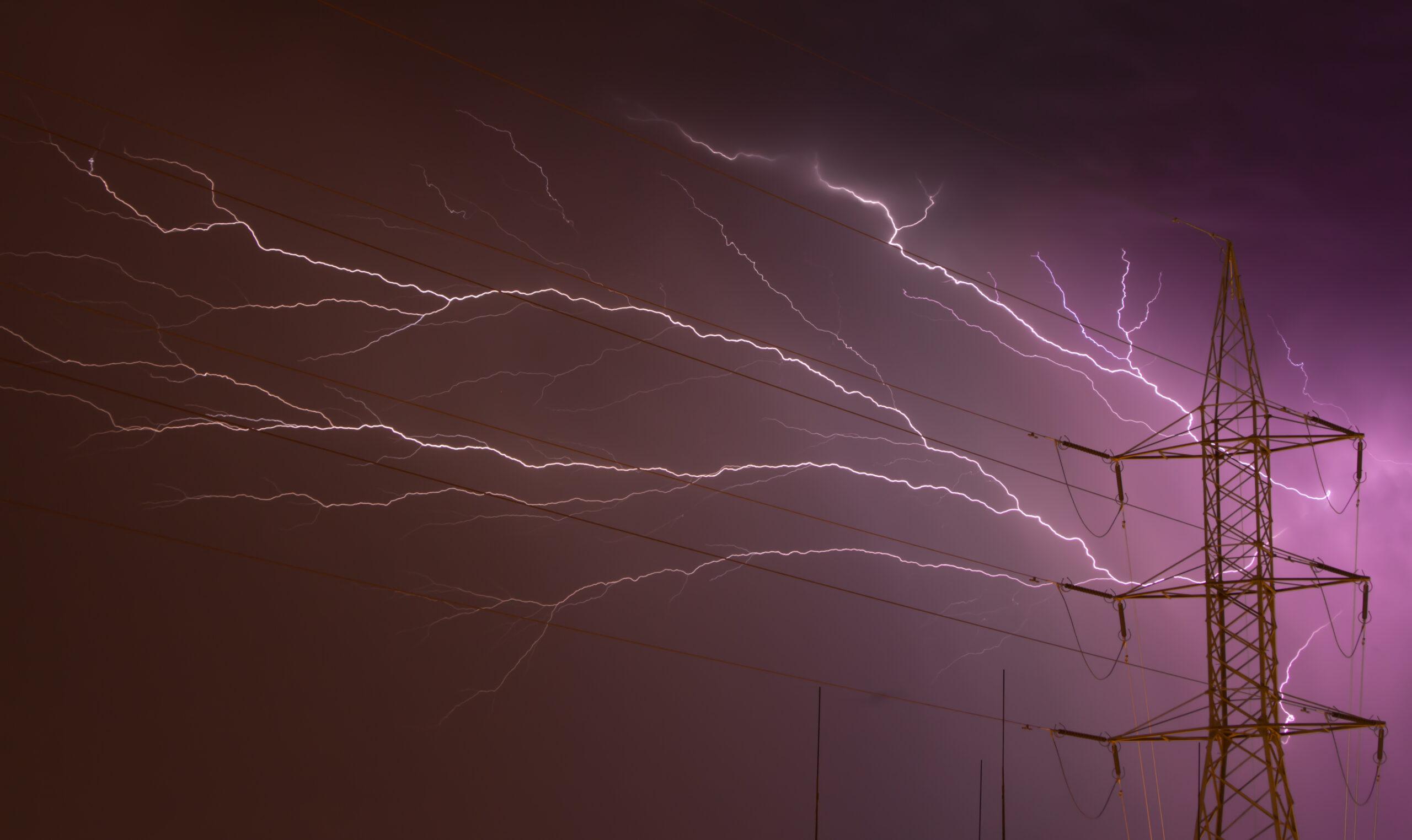 Lightning Across Power Lines